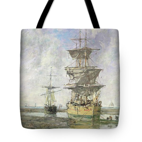 The Large Ship Tote Bag by Eugene Louis Boudin