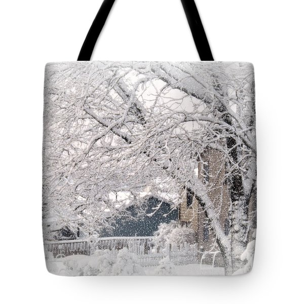Tote Bag featuring the photograph The Last Snow Storm by Kay Novy