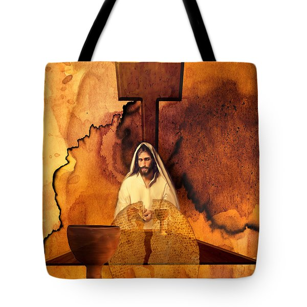 Tote Bag featuring the painting The Last Super by Jennifer Page