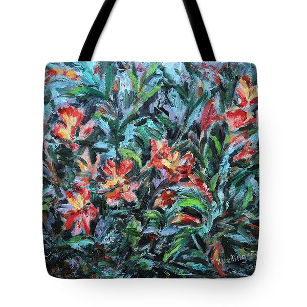 Tote Bag featuring the painting The Late Bloomers by Xueling Zou