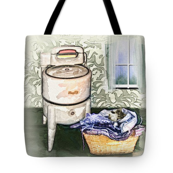 Tote Bag featuring the digital art The Laundry Room by Mary Almond