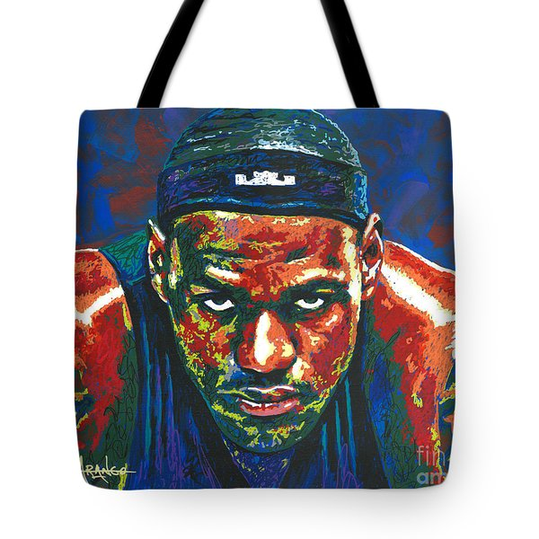 The Lebron Death Stare Tote Bag by Maria Arango