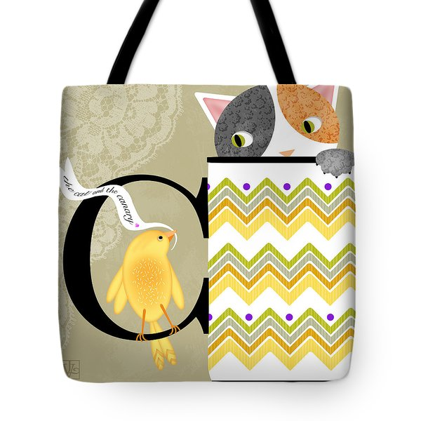 The Letter C For Cat And Canary Tote Bag