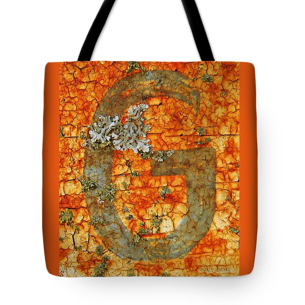 The Letter G With Lichens Tote Bag by Chris Berry