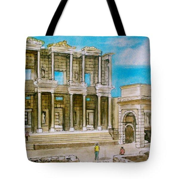 The Library At Ephesus Turkey Tote Bag