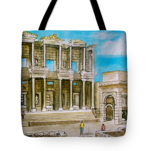 The Library At Ephesus Turkey Tote Bag by Frank Hunter