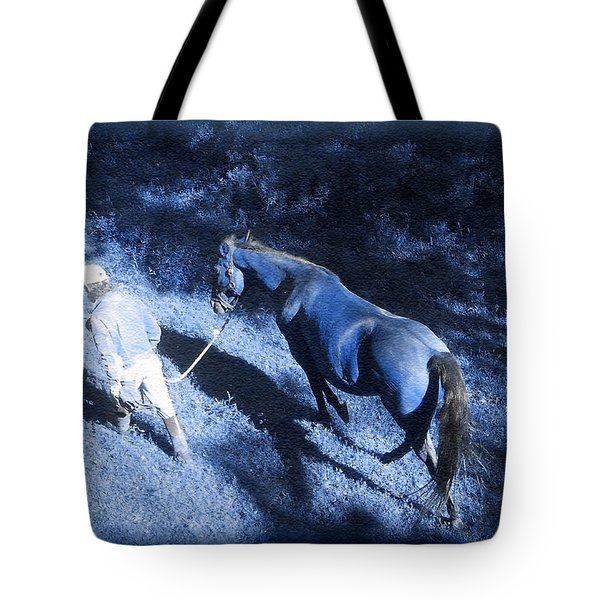 The Light And Shadows Of A Man And His Horse Tote Bag