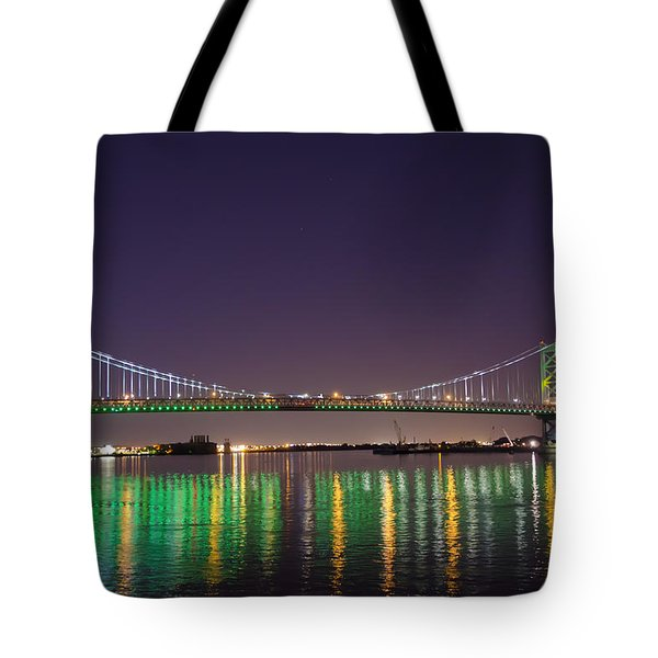 The Lighted Ben Franklin Bridge Tote Bag by Bill Cannon