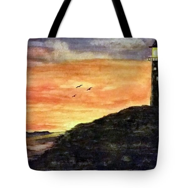 The Lighthouse At Dusk Tote Bag
