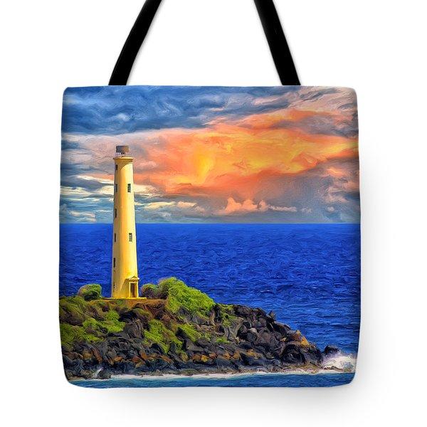 The Lighthouse At Nawiliwili Bay Tote Bag