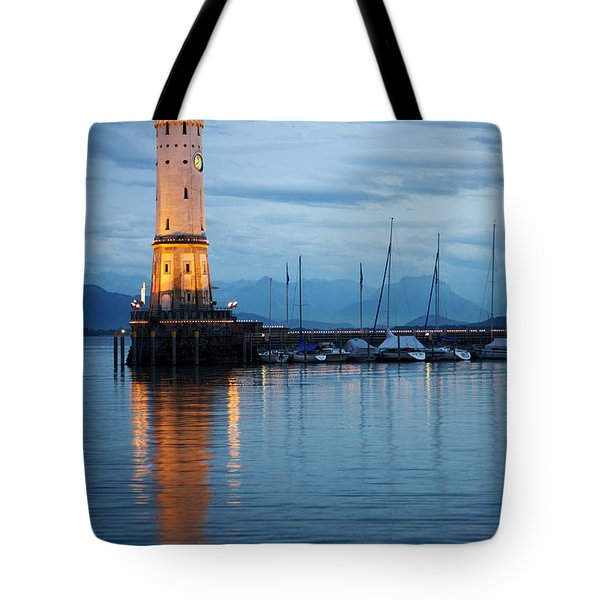The Lighthouse Of Lindau By Night Tote Bag