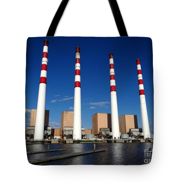 Tote Bag featuring the photograph The Lilco Towers by Ed Weidman