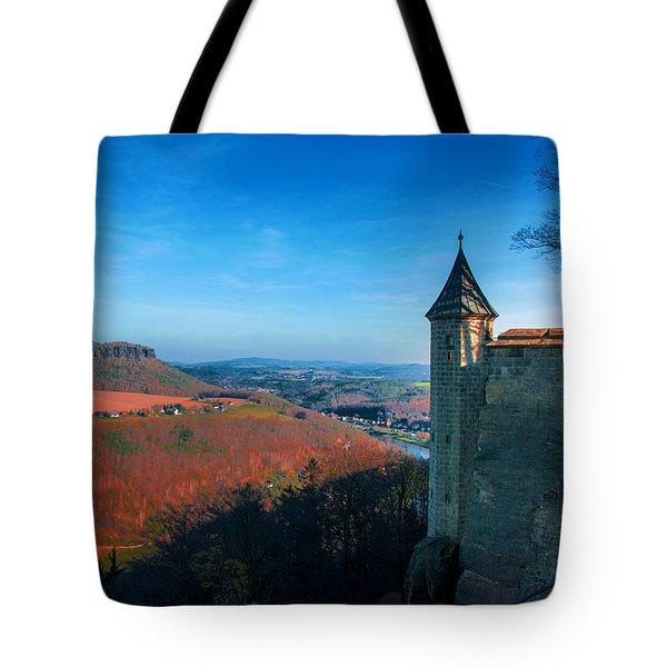 The Lilienstein Behind The Fortress Koenigstein Tote Bag