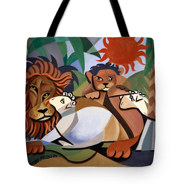 Tote Bag featuring the painting The Lion And The Lamb by Anthony Falbo