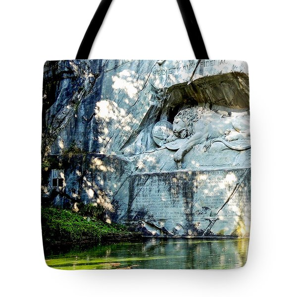 The Lion Monument In Lucerne Switzerland Tote Bag