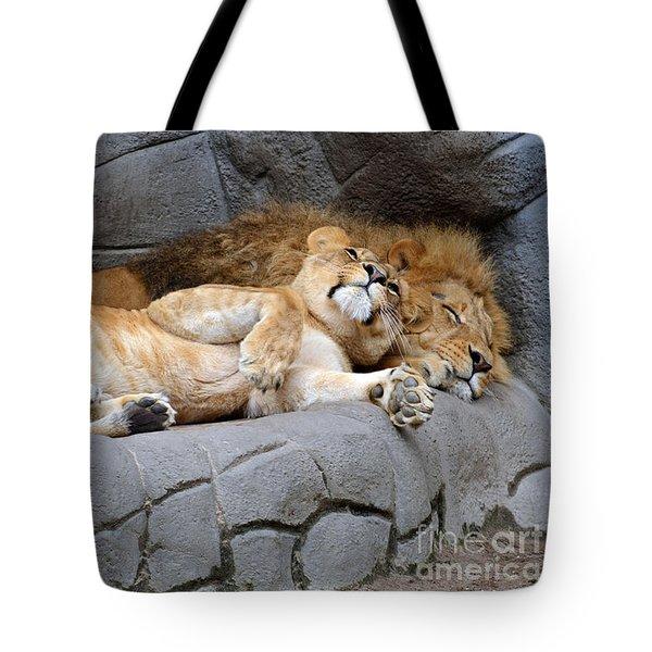 The Lion Sleeps Tonight Tote Bag by Eva Kaufman
