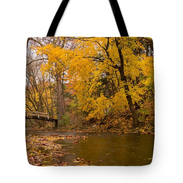 The Little Bridge Over Valley Creek Tote Bag by Rima Biswas
