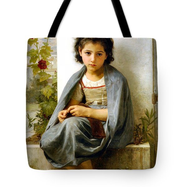 The Little Knitter Tote Bag by William Bouguereau