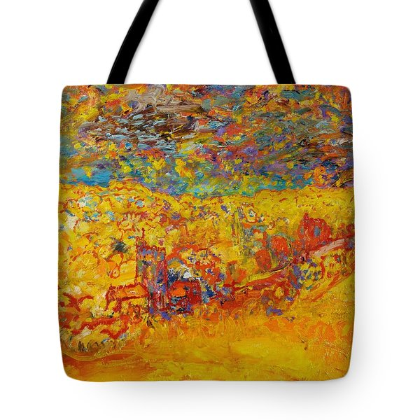 The Little Red Church Oil On Canvas Tote Bag