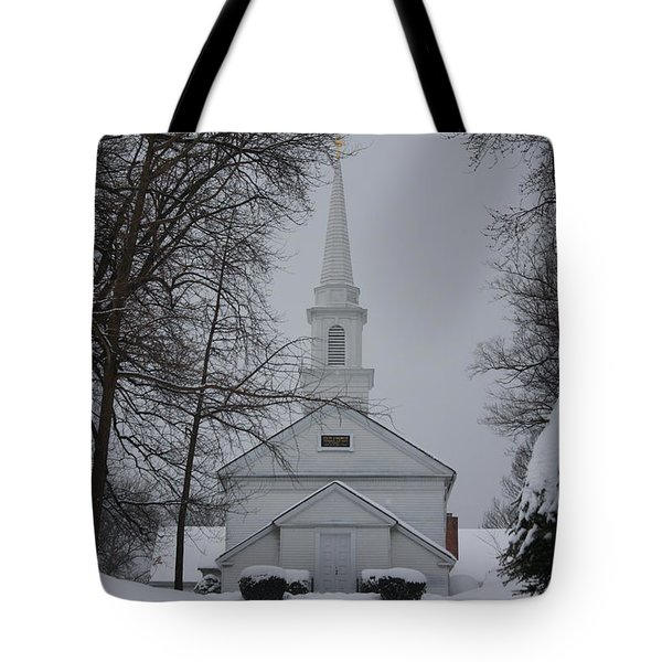 Tote Bag featuring the photograph The Little White Church by Dora Sofia Caputo Photographic Art and Design