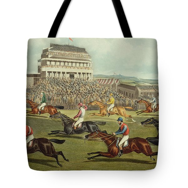 The Liverpool Grand National Steeplechase Coming In Tote Bag by Charles Hunt and Son