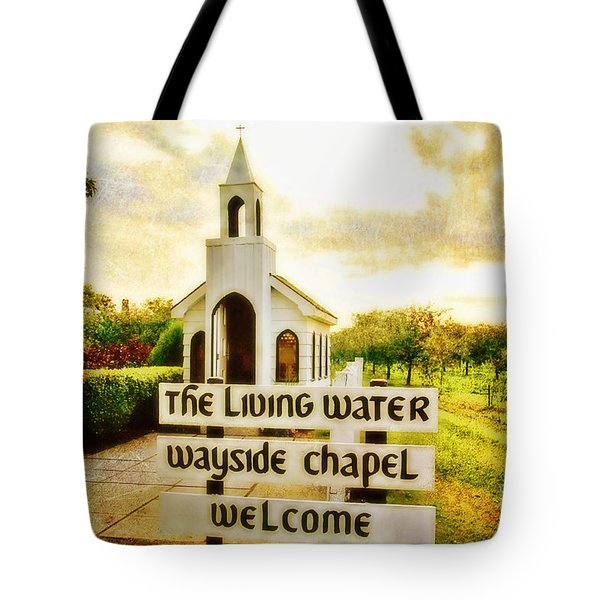 The Living Water Wayside Chapel Tote Bag by Scott Pellegrin