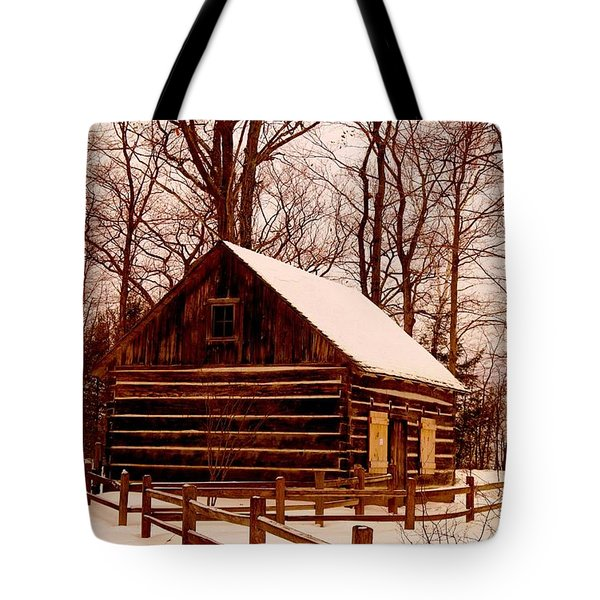 The Log Cabin At Old Mission Point Tote Bag