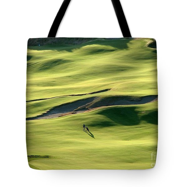 The Long Green Walk - Chambers Bay Golf Course Tote Bag by Chris Anderson
