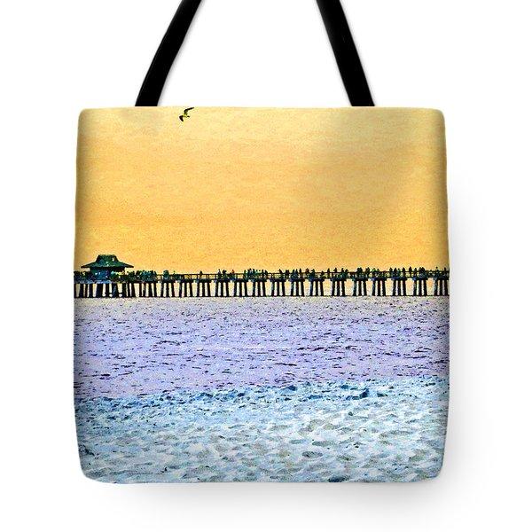 The Long Pier - Art By Sharon Cummings Tote Bag