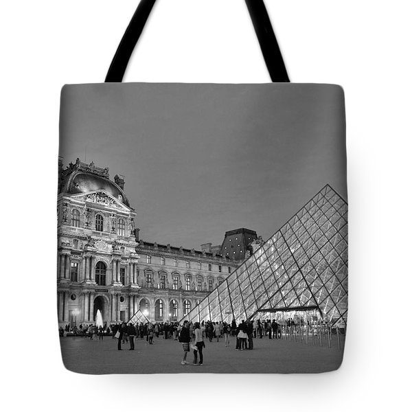 The Louvre Black And White Tote Bag by Allen Beatty
