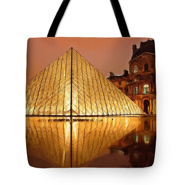 The Louvre By Night Tote Bag by Ayse Deniz