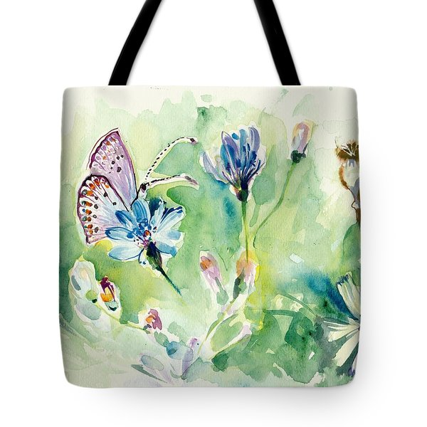 The Love Between Butterfly And Chicory Tote Bag