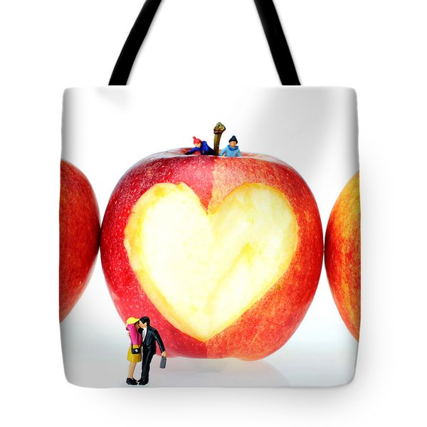 The Lovers In Valentine's Day Little People On Food Tote Bag by Paul Ge