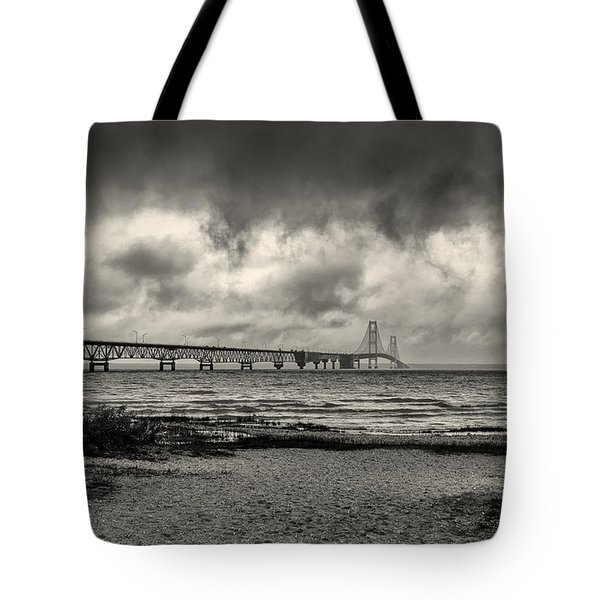 The Mackinac Bridge B W Tote Bag