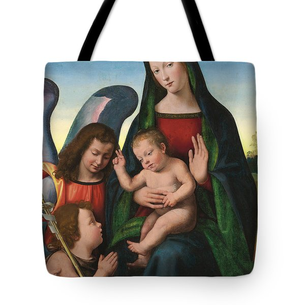 The Madonna And Child With The Young Saint John The Baptist And An Angel  Tote Bag by Giuliano Buigardini and Mariotto Albertinelli