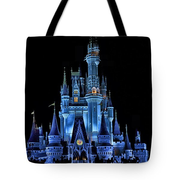 The Magic Kingdom Castle In Very Deep Blue Walt Disney World Fl Tote Bag by Thomas Woolworth