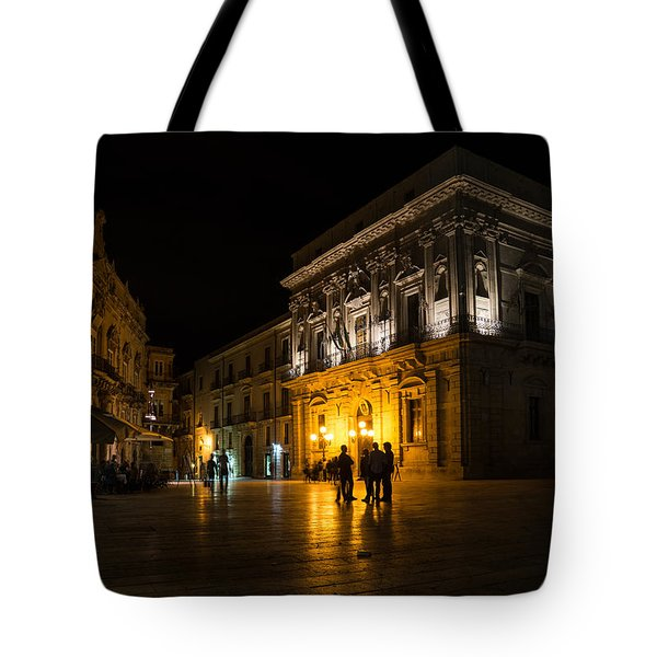 Tote Bag featuring the photograph The Magical Duomo Square In Ortygia Syracuse Sicily by Georgia Mizuleva