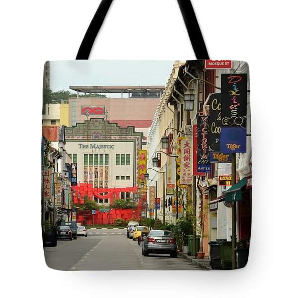 Tote Bag featuring the photograph The Majestic Theater Chinatown Singapore by Imran Ahmed
