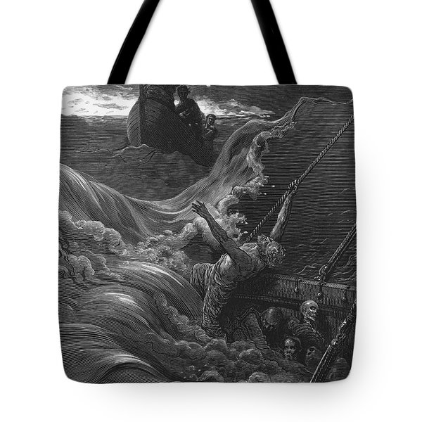 The Mariner As His Ship Is Sinking Sees The Boat With The Hermit And Pilot Tote Bag by Gustave Dore
