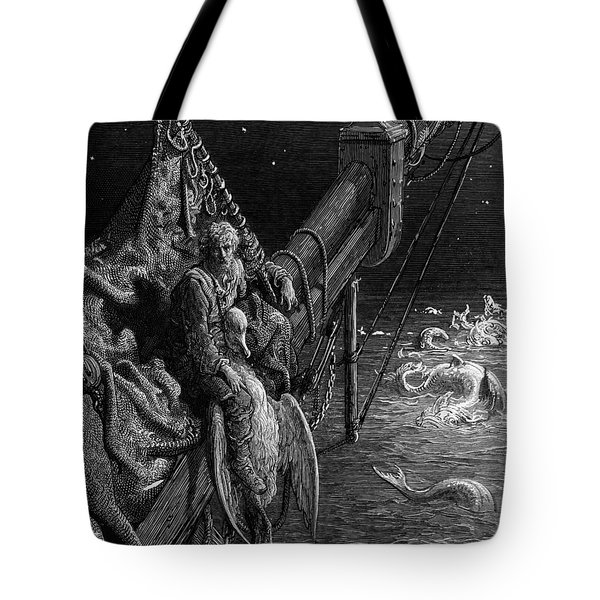 The Mariner Gazes On The Serpents In The Ocean Tote Bag by Gustave Dore
