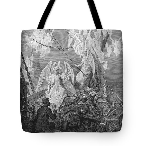 The Mariner Sees The Band Of Angelic Spirits Tote Bag by Gustave Dore