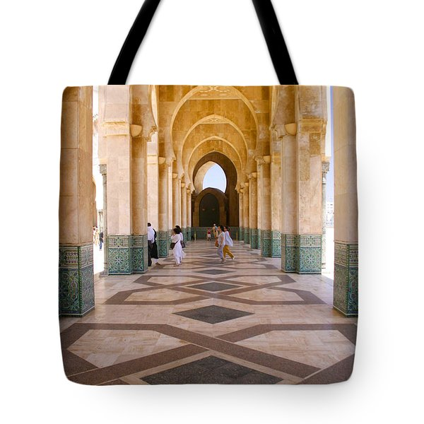 Tote Bag featuring the photograph The Massive Colonnades At The Hassan II Mosque Sour Jdid Casablanca Morocco by Ralph A  Ledergerber-Photography