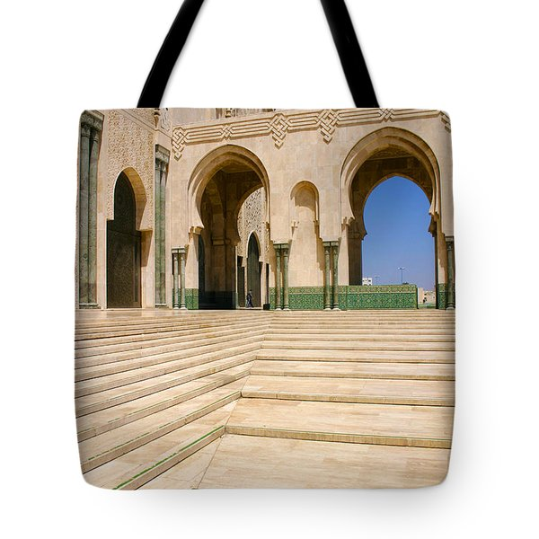 Tote Bag featuring the photograph The Massive Colonnades Leading To The Hassan II Mosque Sour Jdid Casablanca Morocco by Ralph A  Ledergerber-Photography