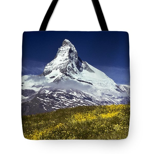 The Matterhorn With Alpine Meadow In Foreground Tote Bag