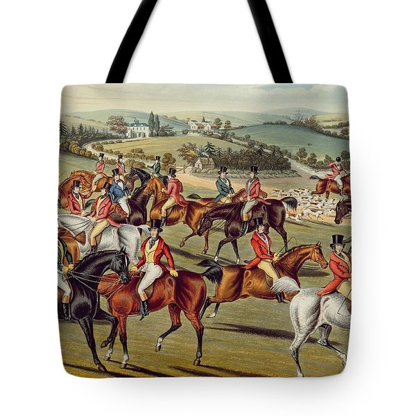 'the Meet' Plate I From 'fox Hunting' Tote Bag by Charles Senior Hunt