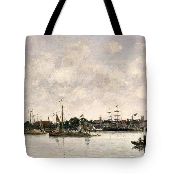 The Meuse At Dordrecht Tote Bag by Eugene Louis Boudin