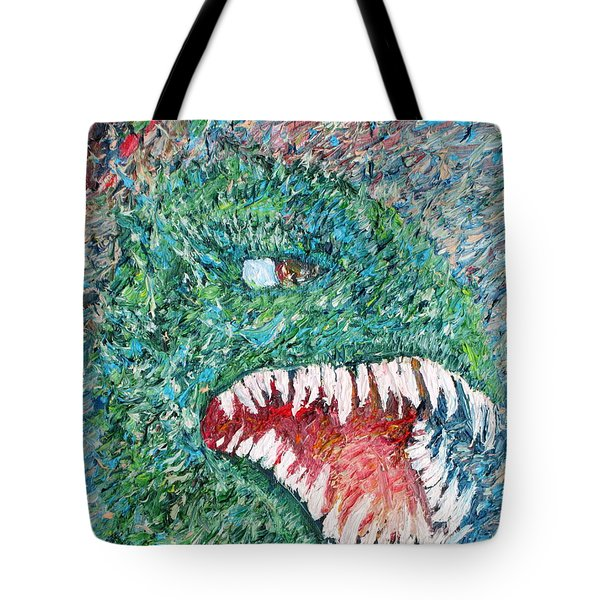 The Might That Came Upon The Earth To Bless - Godzilla Portrait Tote Bag by Fabrizio Cassetta