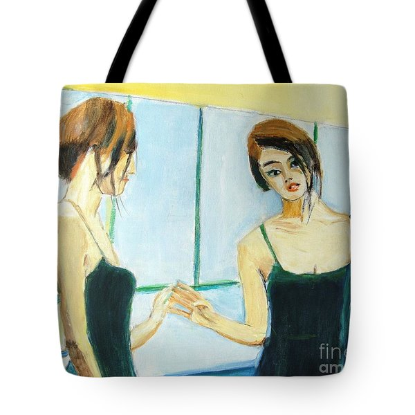 The Mirror Has Two Faces Tote Bag by Judy Kay