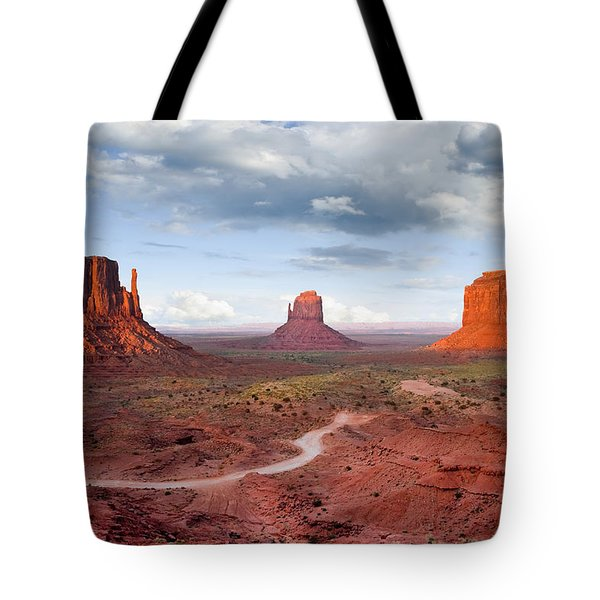 The Mittens And Merrick Butte At Sunset Tote Bag