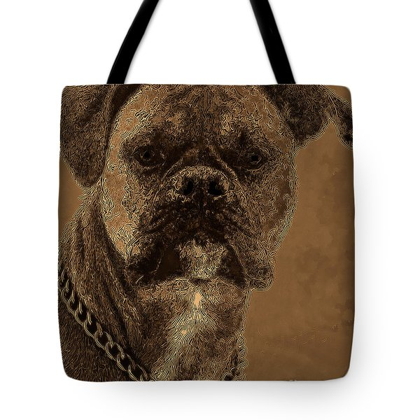 The Modern Boxer Bulldog Tote Bag by Lesa Fine